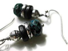 Black Picasso Czech Faceted Glass Rondelle Earrings, via Etsy.