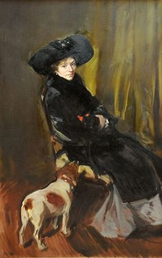 """Clotilde Sorolla with Cat and Dog - Joaquin Sorolla i Bastida The bond between him and his wife was strong, with Clotilde once stating in a letter, """"…you know that my greatest pleasure is to be by. Spanish Painters, Spanish Artists, Old Paintings, Beautiful Paintings, Dog Art, Art History, Painting & Drawing, Illustration, Art Gallery"""