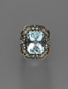 Ring with central aquamarine. Gold, silver, enamel, diamond, and aquamarine. European. about 1850. | © 2015 Museum of Fine Arts, Boston