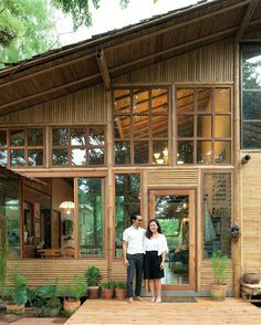 A Bamboo House Embraced by Nature House Design Bamboo House Design, Tropical House Design, Tiny House Design, Tropical Houses, Modern House Design, Bamboo House Bali, Thai House, Bamboo Building, Jungle House