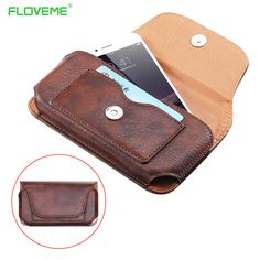 """5.5"""" Universal Leather Phone Case Cover For iPhone SE 5S 6 6S 7 Plus For Samsung Galaxy S7 S6 Edge S5 Man's Belt Card Pouch Bag"""
