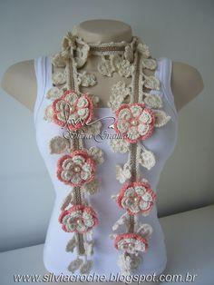 Crochet scarf or collar (cachecol / colar)  Silvia Gramani: Cordão Nature Lótus