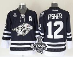 Predators #12 Mike Fisher Blue Third 2017 Stanley Cup Final Patch Stitched NHL Jersey