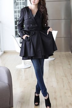Double Breasted Self-belted Trench Coat