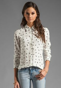 THEORY  Egret Cully Bird Printed Silk Blouse in White/Black