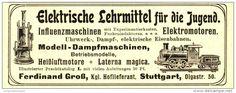 Original-Werbung / Anzeige 1907 - ELEKTRISCHE LEHRMITTEL / DAMPFMASCHINEN / MOTIV DAMPFLOK - ca. 115  x 45 mm