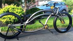 """Click to see the full article and more pics of Garry Weston's latest custom creation..""""F-BOMB."""" He's running a Firebikes Fluid frame and a goCruisergo springer."""