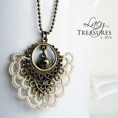 Long boho necklace . Lace . Antique brass Bell . by LacyTreasures, $30.00