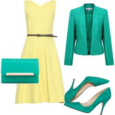 Cool Summer Yellow green by kocsi-marta on Polyvore featuring Osman, Jacques Vert, Kate Spade and Christian Louboutin / I would change the belt to a green one