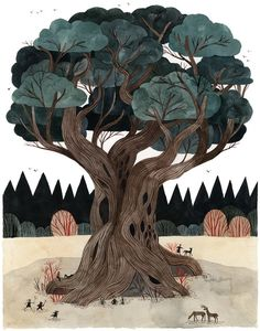 Illustration Tree richters: The council tree by Carson Ellis Art And Illustration, Illustrations And Posters, Illustrations Vintage, Rabbit Illustration, Carson Ellis, Sauce Arbol, Guache, Tree Art, Oeuvre D'art