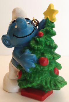 Vintage Schleich Smurf Christmas Ornament Figure Tree 1981