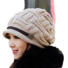 Fashion Women Knit Snow Hat Winter Snowboarding Beanie Crochet Cap Hats (Beige)