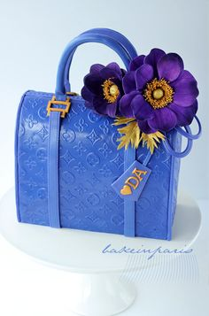 Louis Vuitton Blue-Vernis Purse Cake