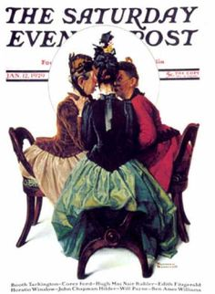 """Three Gossips"" Saturday Evening Post - 1929-01-12 (Norman Rockwell)"
