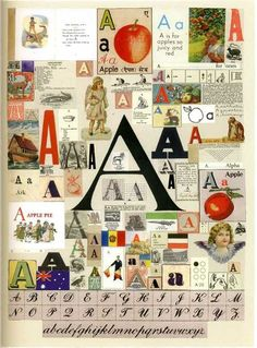 A collage of the letter 'A'. Maybe our cover can be collage-inspired? We can put together things that inspire us and/or what Communications represents to us.