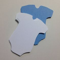 "Onesie Die Cuts ~  2.5"" Blue and White Onesie Die Cuts, Boy Baby Shower Decor, Boy Shower Favor Tags, Party Decorations, Paper Onesies"