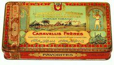Greek Caravellis Favorites Egypt Image Cigarette Turkish Tobacco Tin 1920s