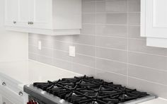 kitchen backsplash gray subway tile stacked - Google Search