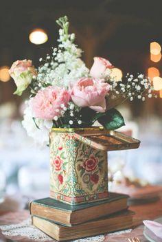 Vintage tea tin vase with peonies