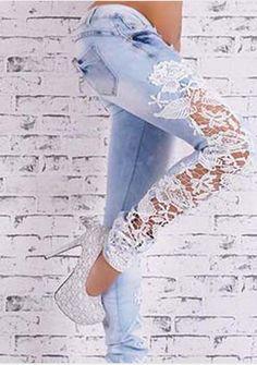Slim Lace Stretch Denim Jeans ---$44.99