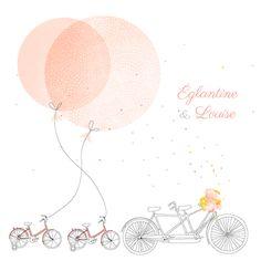 Faire part naissance À bicyclette jumeaux photos by My Lovely Thing pour www.fairepartnaissance.fr #twins #rosemood