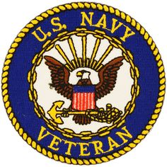 US Navy Veteran Round Logo Patch (Multi), Multicolor(Polyester)