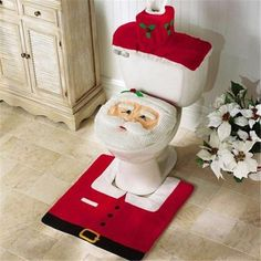 2016 Santa Claus Toilet Seat Cover and Rug Bathroom Set Contour Rug Christmas Decorations for Home Papai Noel Navidad Decoracion Más