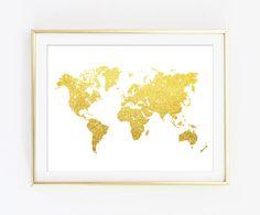 World Map Wall Art Print - Modern Home Decor - Giclee Art Poster - Faux Gold Glitter Wall Art - NOT REAL GLITTER