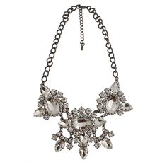 """Women's Fashion Statement Necklace with Stones - Hematite/Clear (18"""")"""