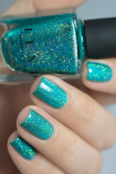 Beach House - Aqua Blue Holographic Nail Polish by ILNP - nails and slime - Manicure, Diy Nails, Cute Nails, Aqua Nails, Blue Nail, Trendy Nails, Bright Summer Nails, Summer Holiday Nails, Gel Nagel Design