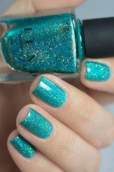 Beach House - Aqua Blue Holographic Nail Polish by ILNP - nails and slime - Diy Nails, Cute Nails, Aqua Nails, Blue Nail, Smart Nails, Bright Summer Nails, Summer Holiday Nails, Cute Nail Art Designs, Beach Nail Designs