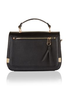 Accented with gold-tone hardware, our Evie bag is both sleek and sophisticated. With a ladylike top handle and front zip detail, this flap-over silhouette wi...