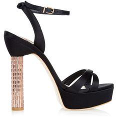 Sophia Webster Belle satin platform sandals ($595) ❤ liked on Polyvore featuring shoes, sandals, black satin sandals, black strap sandals, black sandals, strappy sandals and strap sandals