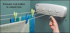 .Retractable indoor clothesline for the laundry room.