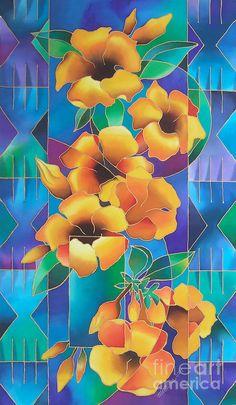 Island Flowers - Allamanda Painting