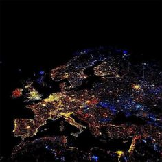 Funny pictures about Europe at night. Oh, and cool pics about Europe at night. Also, Europe at night photos. Picture Day, Light Of The World, Earth From Space, To Infinity And Beyond, City Lights, Night Lights, Red Lights, Twinkle Lights, New Years Eve