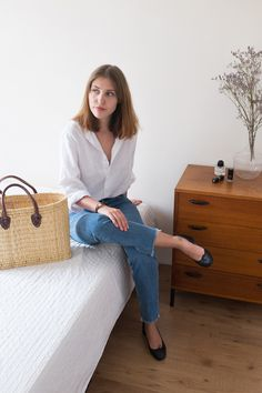 "sartreuse: "" Wearing my linen shirt and straw bag on www.sartreuse.com """