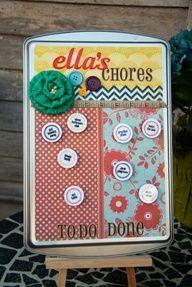 Dollar store cookie sheet chore chart #chores