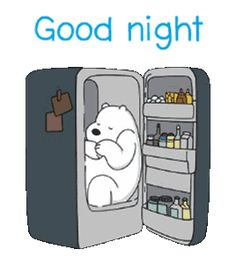 We Bare Bears: Snack Time | Line Sticker Good Night Gif, Day For Night, Bear Cartoon, Cartoon Pics, Bear Gif, Cute Love Gif, Polaroid, We Bear, Good Night Sweet Dreams