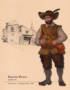 Don Quixote (Sancho Panza). Costume design by Missy West. San Diego, Man Of La Mancha, Design Research, Costume Design, Plays, Musicals, Sketches, Costume Ideas, Theatre