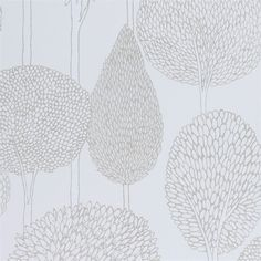 Shop for Wallpaper at Style Library: Silhouette by Harlequin. Outlines of stylised trees with an etched appearance adorn . Harlequin Wallpaper, Neutral Wallpaper, Accent Wallpaper, Tree Wallpaper, Fabric Wallpaper, Wallpaper Roll, Wallpaper Ideas, Bedroom Wallpaper, White Wallpaper