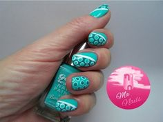 Mint Dotty Nails #teal #blue #nailart -  bellashoot.com / bellashoot iPhone & iPad app