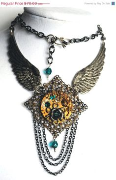 ON SALE Steampunk Princess Necklace  Teal by MadScientistsDesigns, $35.00