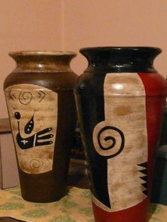 Pottery Painting, Pottery Vase, Ceramic Pottery, Painted Flower Pots, Vase Shapes, Ceramic Jewelry, Vases Decor, Earthenware, Handmade Crafts