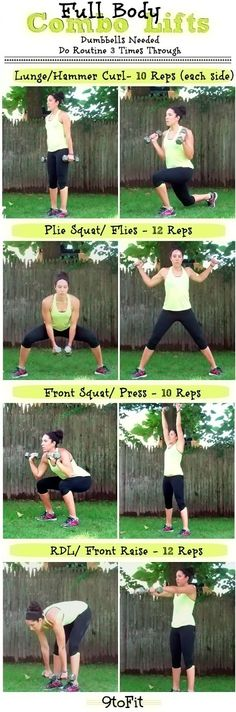 Full body combo lifts with dumbbells