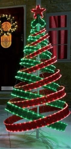 4FT OUTDOOR RED GREEN PRE LIT POP UP SPIRAL CHRISTMAS TREE LED LIGHTS   eBay Surely I could make something like this?...maybe with ribbon, wired with lights