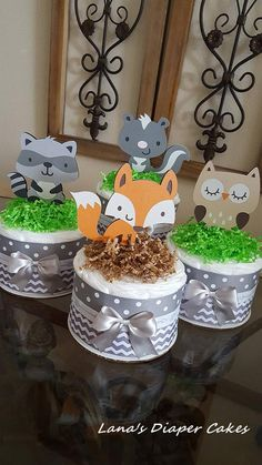 Set Of 4 Woodland Mini Diaper Cakes Neutral Baby Shower Gender Decoration Fox Owl Set Of 4 Woodland Mini Diaper Cakes Neutral Baby Shower Gender Decoration Fox Owl Maria Raasveld maria raasveld Natasha Baby Shower nbsp hellip Shower juegos sopa de letras Baby Shower Diapers, Baby Shower Cakes, Baby Shower Themes, Baby Shower Favors, Baby Shower Gifts, Baby Boy Shower, Baby Showers, Shower Ideas, Mini Diaper Cakes