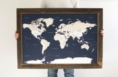 Premium push pin board lets get lost world map travel pinboard navy world map reclaimed wood push pin travel map gift for husband reclaimed gumiabroncs Image collections
