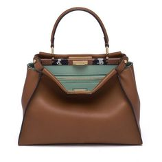 Fendi Peekaboo Leather Satchel ($4,270) ❤ liked on Polyvore featuring bags, handbags, apparel & accessories, brownie, brown satchel handbag, handbag satchel, leather satchel purse, leather satchel handbags and leather handbags