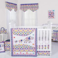 Pier 1 Imports Waverly Santa Maria 5-Piece Crib Bedding Set. This gorgeous crib bedding set with mauve as the base color is spectacular for either a girl or a boy. #cribsets #cribbedding #nurseryideas #afflnk
